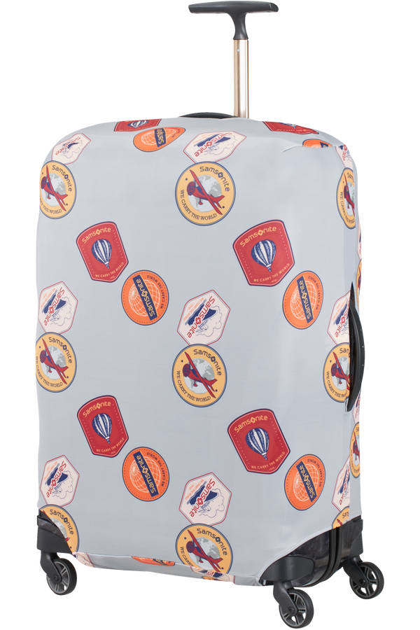 Samsonite Global Ta Lycra Luggage Cover L  Heritage Patches